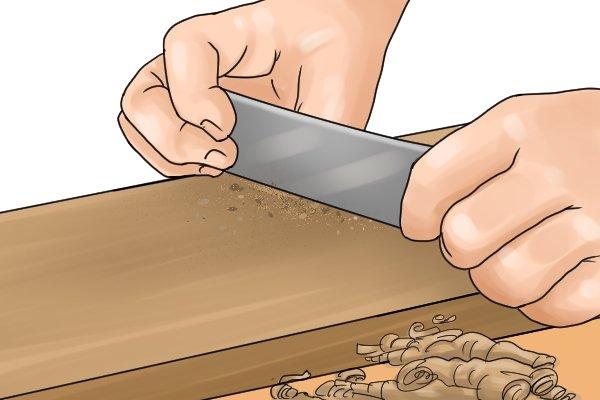 Cabinet scraper, flat cabinet scraper, woodwork, scraping, DIYer, carpenter.