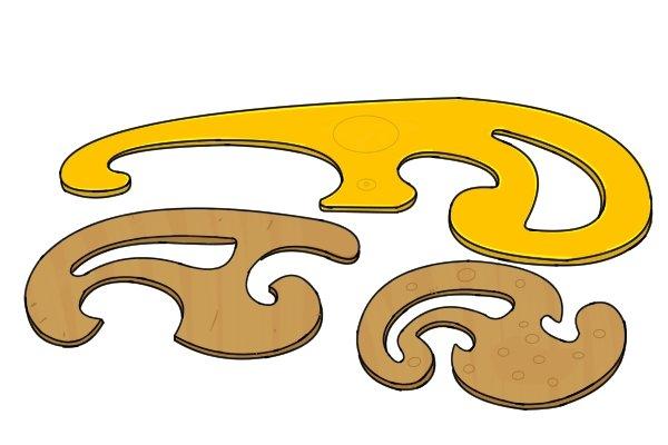 Gooseneck cabinet scraper, French curve, woodwork, carpenter, DIYers,
