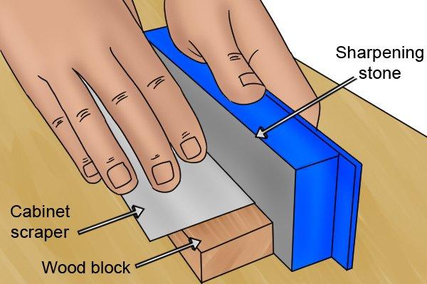 Cabinet scraper, card scraper, wood block, diamond stone, tools, scraping, woodwork, carpenter, DIYer.