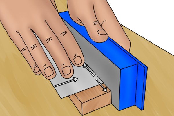 Cabinet scraper, card scraper, wood block, smooth, edges, blade, diamond stone, tools, scraping, woodwork, carpenter, DIYer.