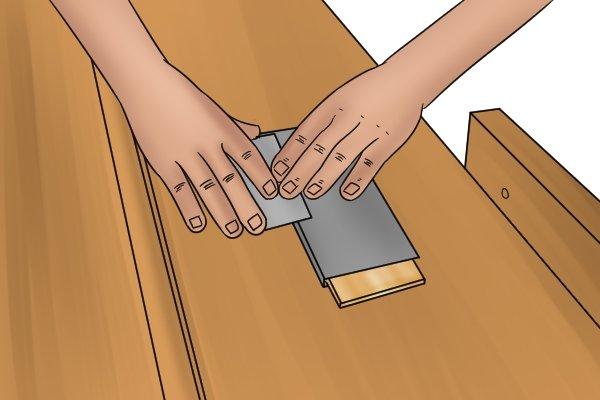 Cabinet scraper, card scraper, removing, burr, smooth, edges, blade, diamond stone, tools, scraping, woodwork, carpenter, DIYer.