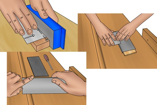 Cabinet scraper, card scraper, wood block, sharpening, smooth, edges, blade, diamond stone, tools, scraping, woodwork, carpenter, DIYer.