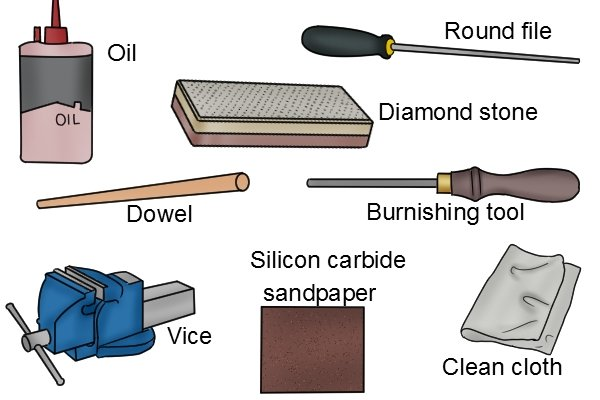 How to sharpen a hollow cabinet scraper