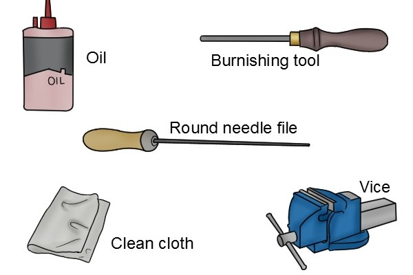 Quadrant cabinet scraper, round needle file, burnishing tool, vice, sharpening, carpenter, woodwork, DIYer.