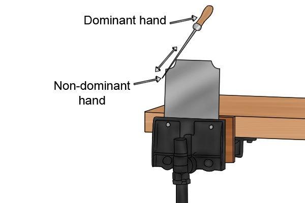 Quadrant cabinet scraper, filing, needle file, vice, woodwork, carpenter, DIYer.