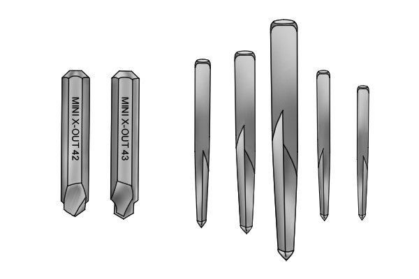 The straight fluted extractor is used to efficiently remove studs, screws and bolts. A mini straight fluted extractor can be used in hand screwdrivers with a hexagonal drive. Choose the straight fluted extractor to remove a variety of screw, bolts and studs. Choose the mini straight fluted extractors for removing broken, damaged or embedded screws from metal, wood and ceramic.