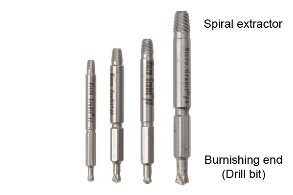 This is the small (micro) version of the spiral fluted extractor that enables the user to use both ends. Micro extractors are suitable for electronic, precision equipment and for use in the medical industry because of their hardened steel design and the size of screws and bolts they are able to extract.