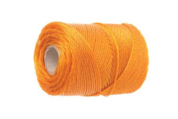 Orange Brick line, mason's line, brick twine, bricklayer's tools, marking out tools, string line, fluorescent, level, plumb, wall, bricklaying, wonkee donkee tools DIY guide, how to use a brick line
