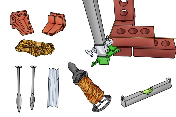 Accessories, bricklaying aids, tool, brick line, line blocks, wonkee donkee tools DIY guide how to use a brick line