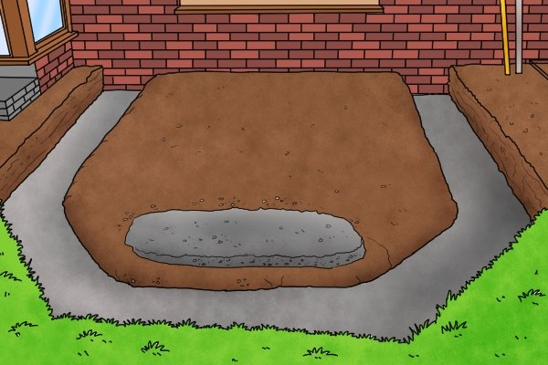 fill trench with concrete, lay foundations brick lines, wonkee donkee tools DIY guide