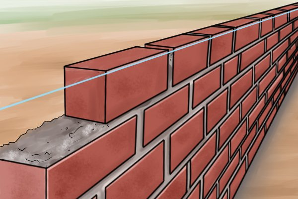 Line block, line pin, brick line, bricklaying, tools, mason's line, wonkee donkee tools DIY guide, How to use a brick line