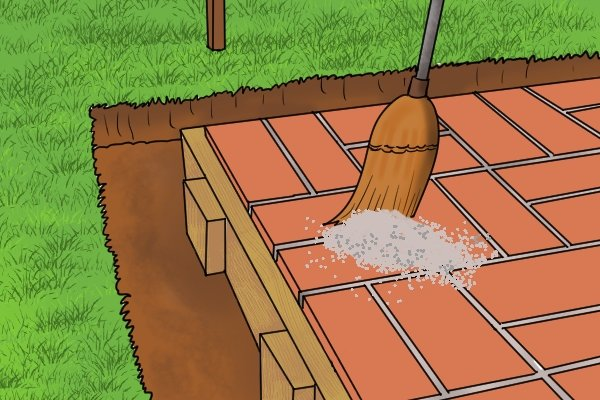 Laying patio, slabs, bricks, sand landscaping, wonkee donkee tools Brick lines, how to lay patio