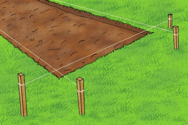 laying patio, brick lines, mason's line, string, wonkee donkee tools DIY guide how to lay patio