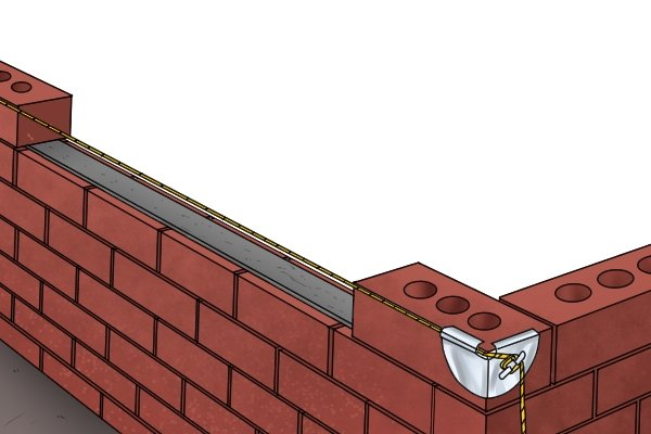 Line pin, brick line, line blocks, bricklaying, stone wall, masonry, wonkee donkee tools DIY guide, how to use line pins