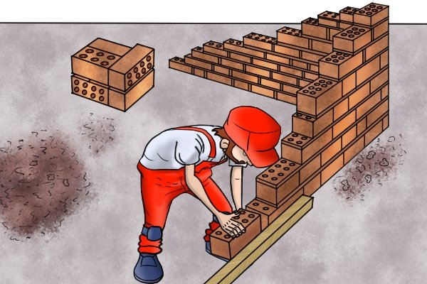 Build your corner leads, bricklaying, corner leads, bricks, line blocks, brick line, wonkee donkee tools DIY guide, how to use line blocks