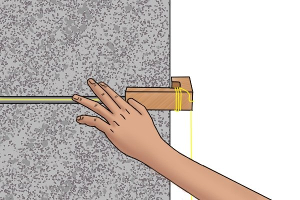 Line pin, brick line, line blocks, bricklaying, stone wall, masonry, wonkee donkee tools DIY guide, how to use line pins