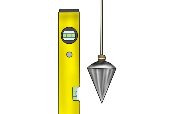 plumb-bob and spirit level, marking tools, wonkee donkee tools DIY guide how to use a plumb bob