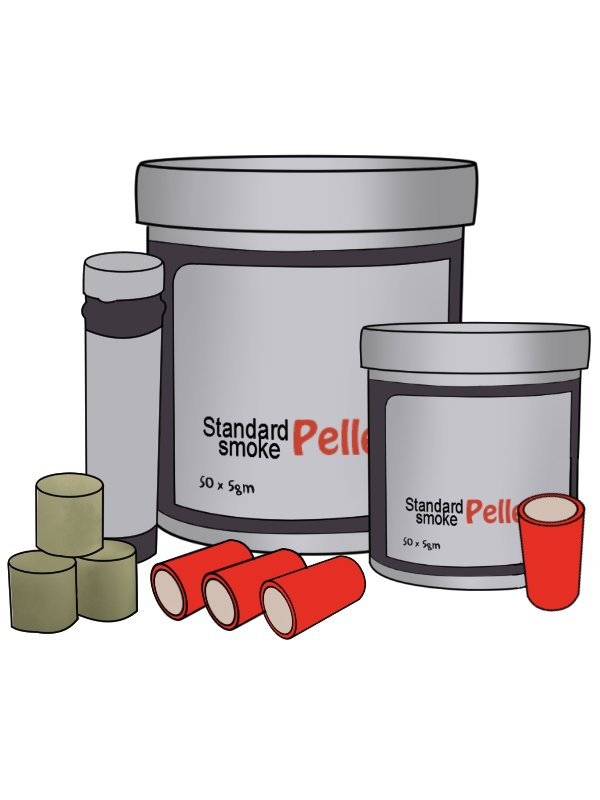 smoke emitter pellets of various sizes, smoke testers, performing a smoke test