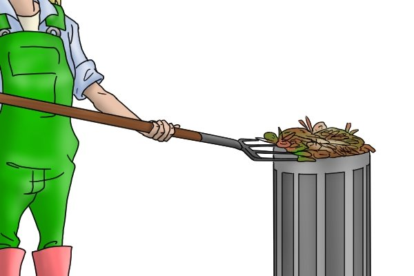 Forks can be used to turn over and spread compost, for example.