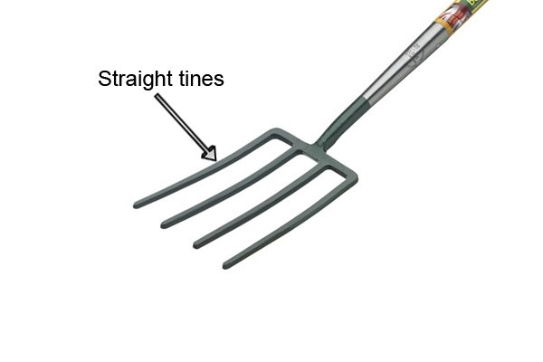 Straight tines are ideal for digging