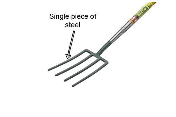 The tines and socket are formed from one piece of steel