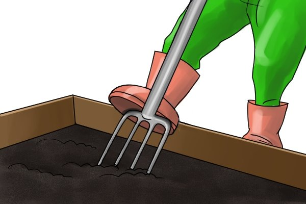 Using a border fork in a confined area such as a raised bed