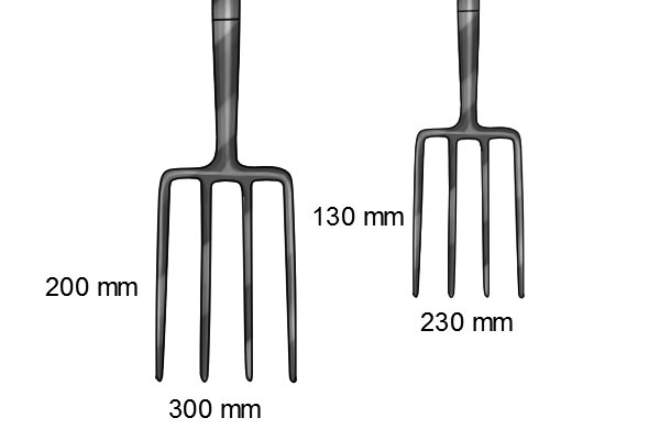 The tines of a border fork compared to a digging fork