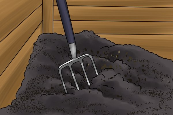 A compost fork (also known as a manure or mulch fork) is sued for loosening, aerating and transplanting compost or manure.