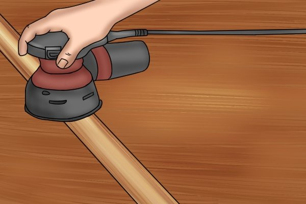 Use an orbital sander or do it by hand