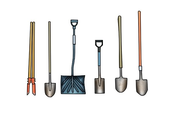 Shovels come in various shapes and sizes