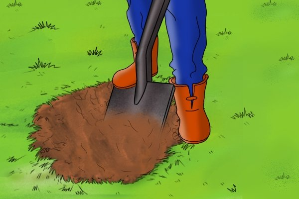 A shovel can be used to dig a hole and shovel away the earth