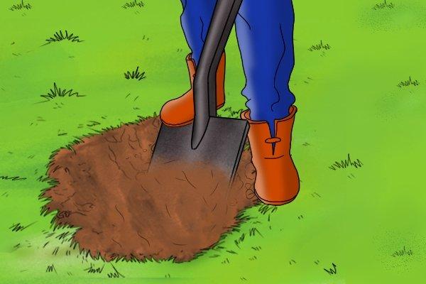 Using a shovel to dig through soil.