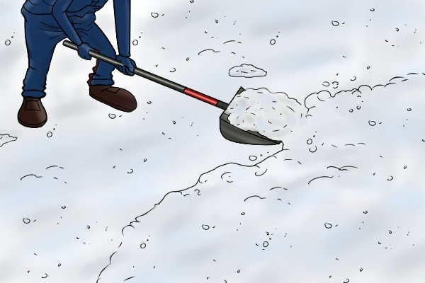 Using a shovel to clear snow