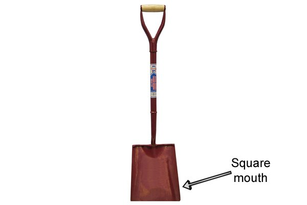 The blade of a square mouth shovel is wide with a straight edge