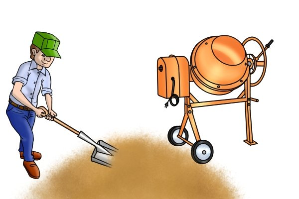 A steel shovel is strong enough for use even on a construction site