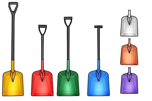 Shovels made from plastic