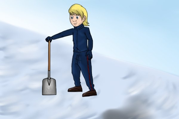 Using a lightweight yet robust aluminium shovel to clear snow