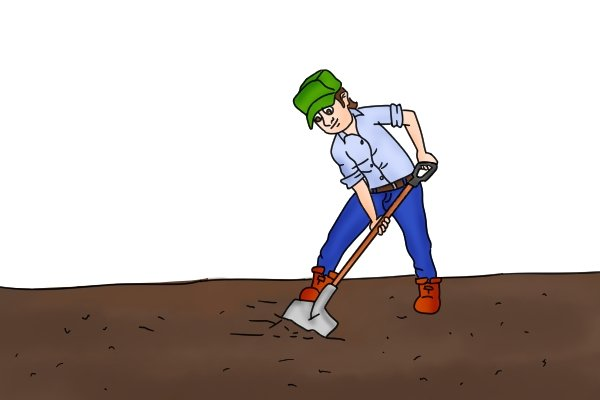 A shovel with an angled blade (usually between 40 and 45 degrees) gives improved leverage and power to shovel material from the ground.