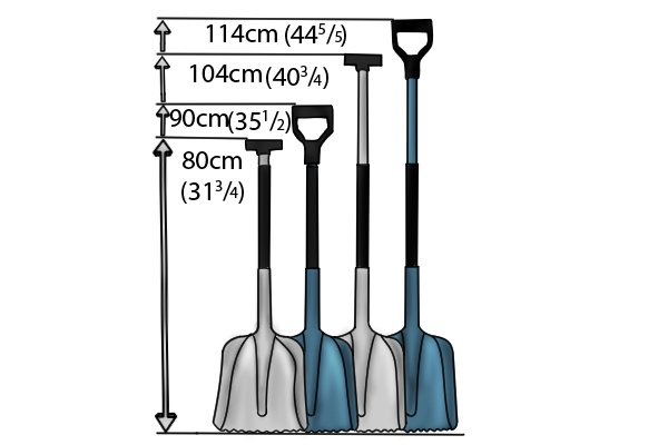 Shovels come in various lengths to suit different frames and tasks