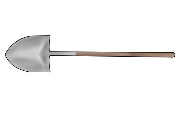Shovels without a handle are useful for prising out deep-rooted plants and giving extra clout when throwing shovel loads of material into a pile.