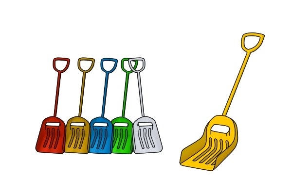 Colour-coded plastic shovels