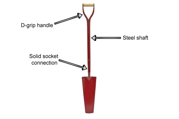 Draining shovel with a D-grip
