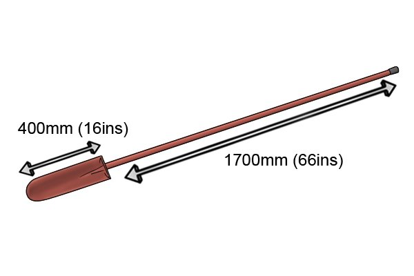 A rabbiting spade with an extra-long shaft
