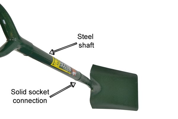 A trenching shovel with a solid socket connection