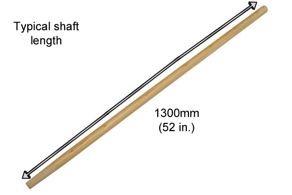 The shaft is extra-long, usually up to 1828mm (72 inches)