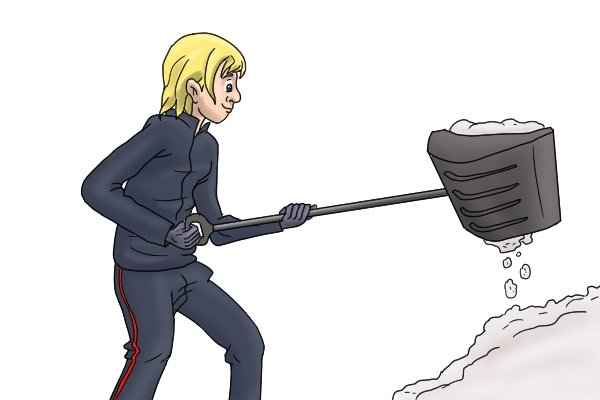 It is tempting to overload a wide, deep scoop when shovelling heavy, wet material such as snow