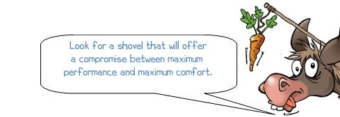 Wonkee Donkee says 'Look for a shovel that will offer a compromise between maximum performance and maximum comfort'