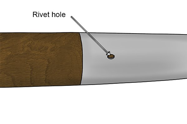 A rivet (a metal bolt) is inserted through the rivet hole previously punched out by the press during construction of the head.