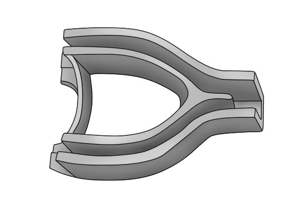 A horseshoe-shaped clamp is used to mould the wood into a D-grip.