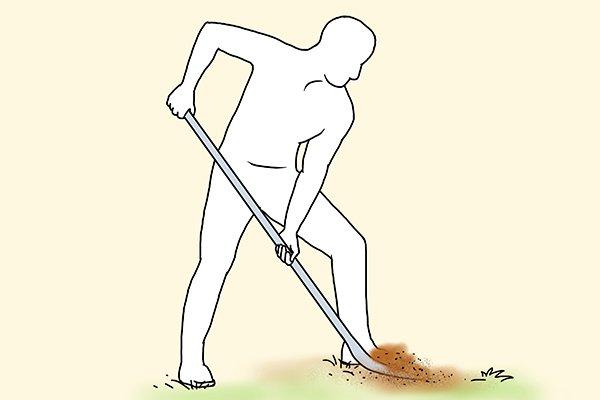 Digging technique - keep knees slightly bent